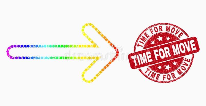 传染媒介光谱被加点的箭头正确的象和困厄移动邮票的时刻 库存例证