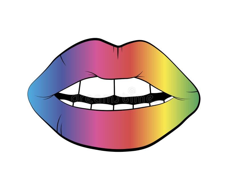 传染媒介全息图在白色背景隔绝的嘴唇标志 彩虹亲吻 线性象例证 妇女的多彩多姿的嘴唇drawin 向量例证