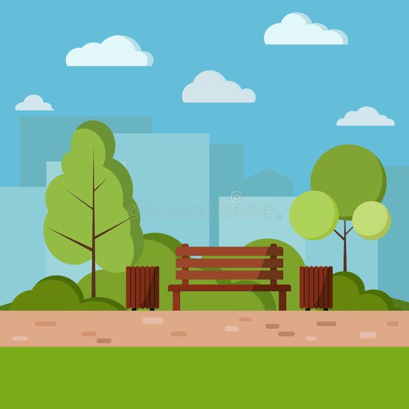 传染媒介公园天自然在动画片平的样式的背景例证 皇族释放例证