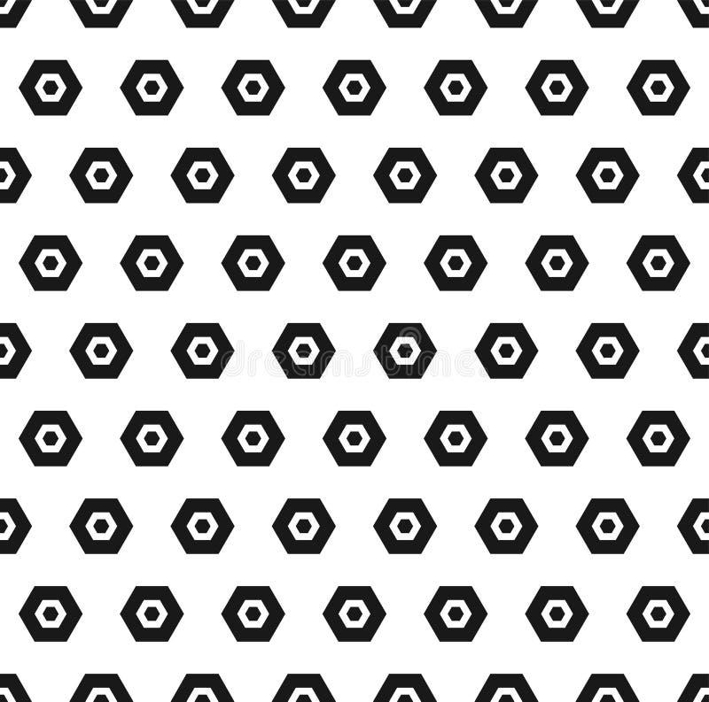 传染媒介六角形黑白无缝的样式 抽象几何纹理 库存例证
