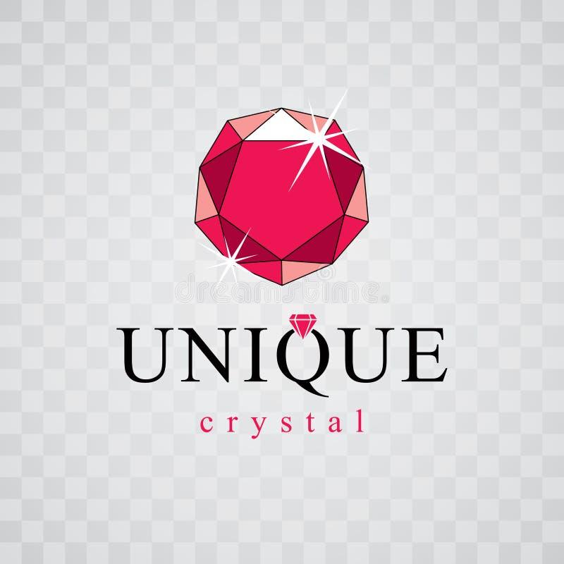 传染媒介典雅的闪耀的宝石 雕琢平面的宝石标志象征, illu 库存例证