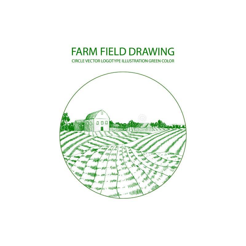 传染媒介农厂商标模板,圈子形状,农田图画背景 库存例证