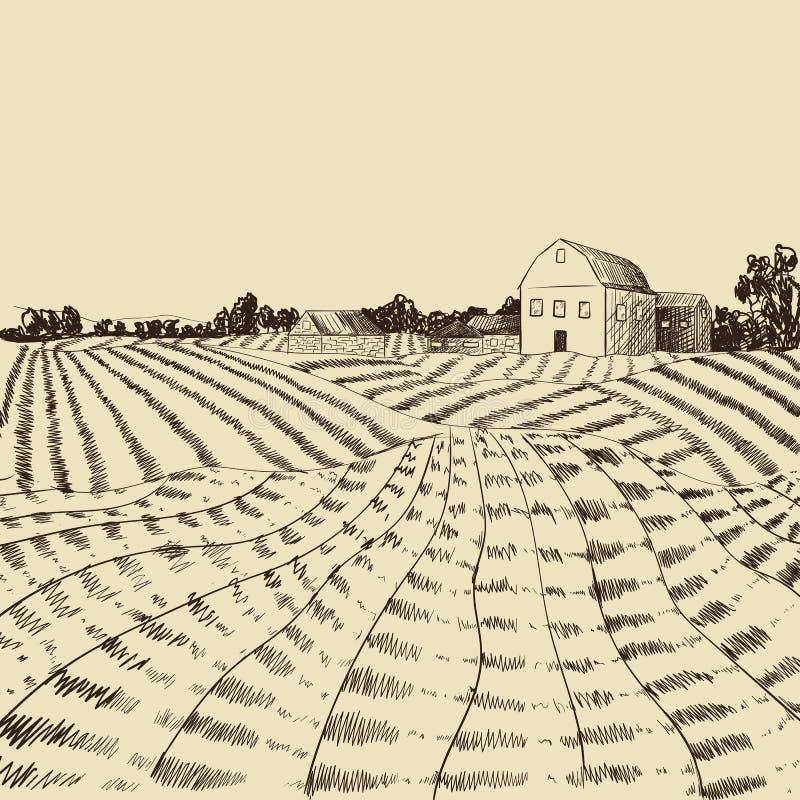 传染媒介农厂风景铭刻,农业场面,刻记样式例证、手拉的背景、农夫议院和领域 库存例证