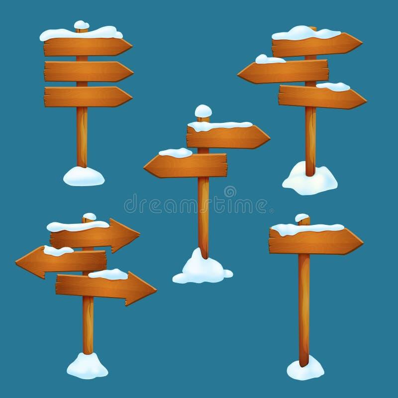 传染媒介冬天,晚秋天假日元素 与箭头的积雪的木路标塑造了板条 皇族释放例证