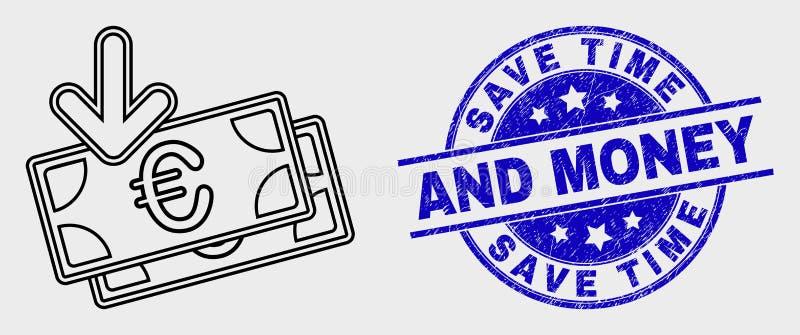 传染媒介冲程欧元钞票收入象和困厄除时间和金钱封印外 库存例证