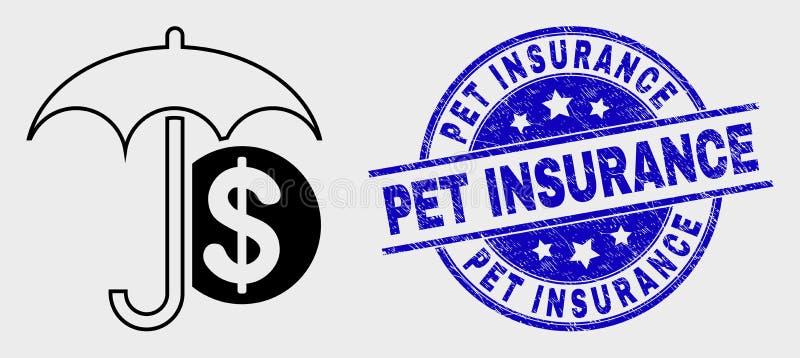传染媒介冲程财政伞象和难看的东西宠物保险封印 库存例证