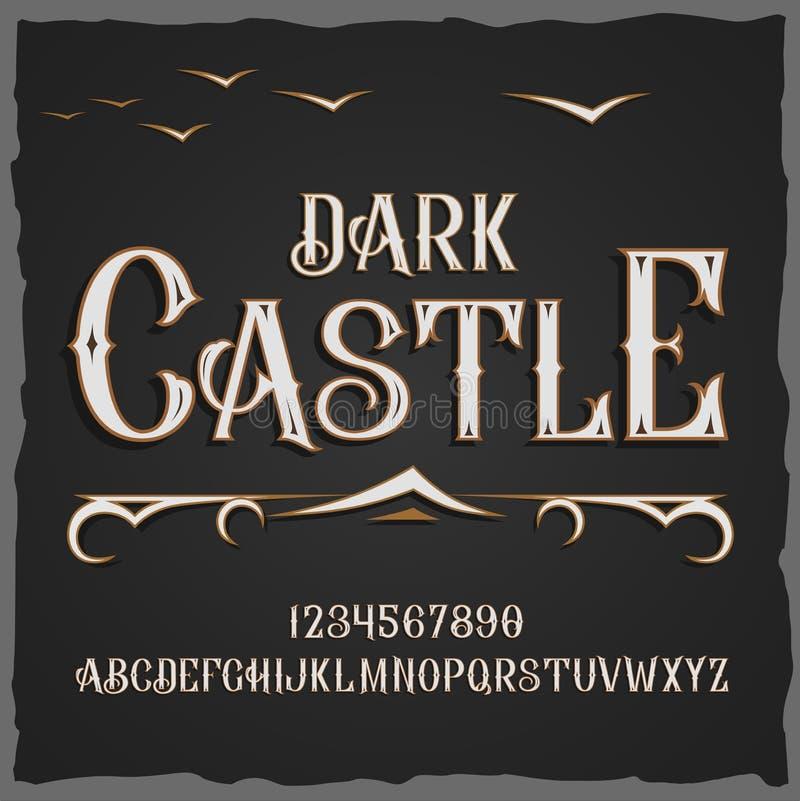 传染媒介减速火箭的字体 向量字体黑暗城堡 库存例证