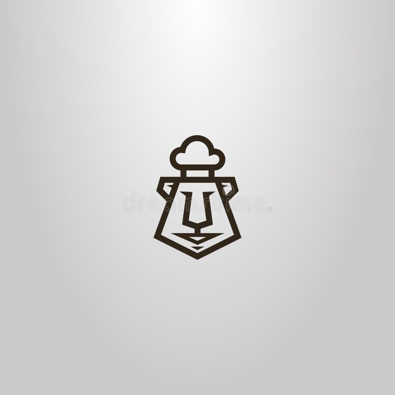 传染媒介几何一个动画片熊头的线艺术标志在厨师头饰的 皇族释放例证
