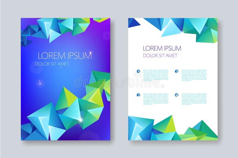 传染媒介几何抽象小册子设计,小平面三角样式 飞行物,海报模板 向量例证