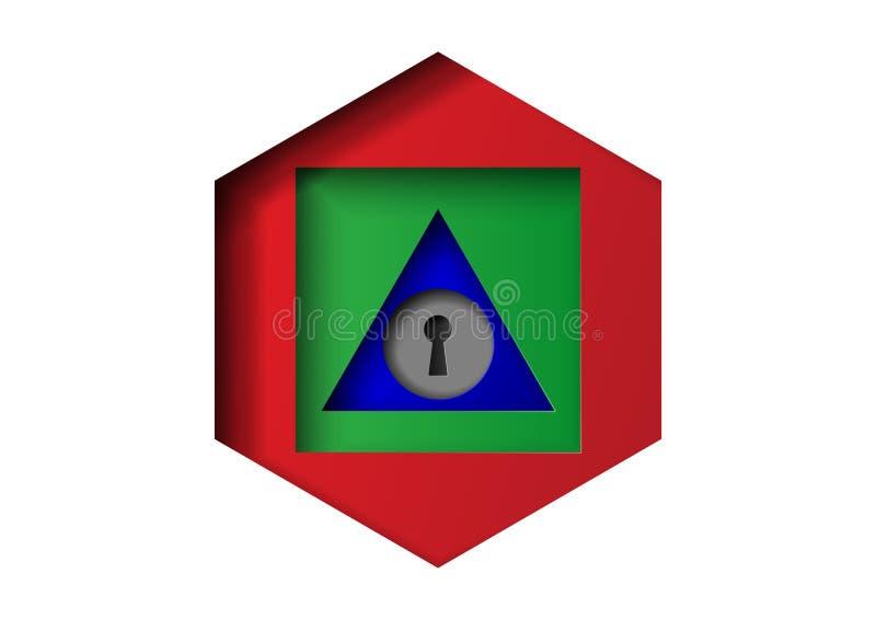 传染媒介几何概念性图象-问题解答的钥匙是从复杂的方式到简单的形状 库存例证