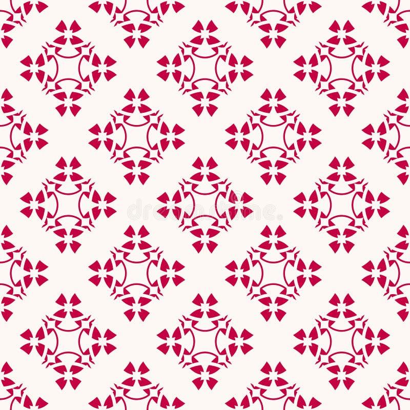 传染媒介几何花卉样式 典雅的抽象红色和白色无缝的纹理 向量例证