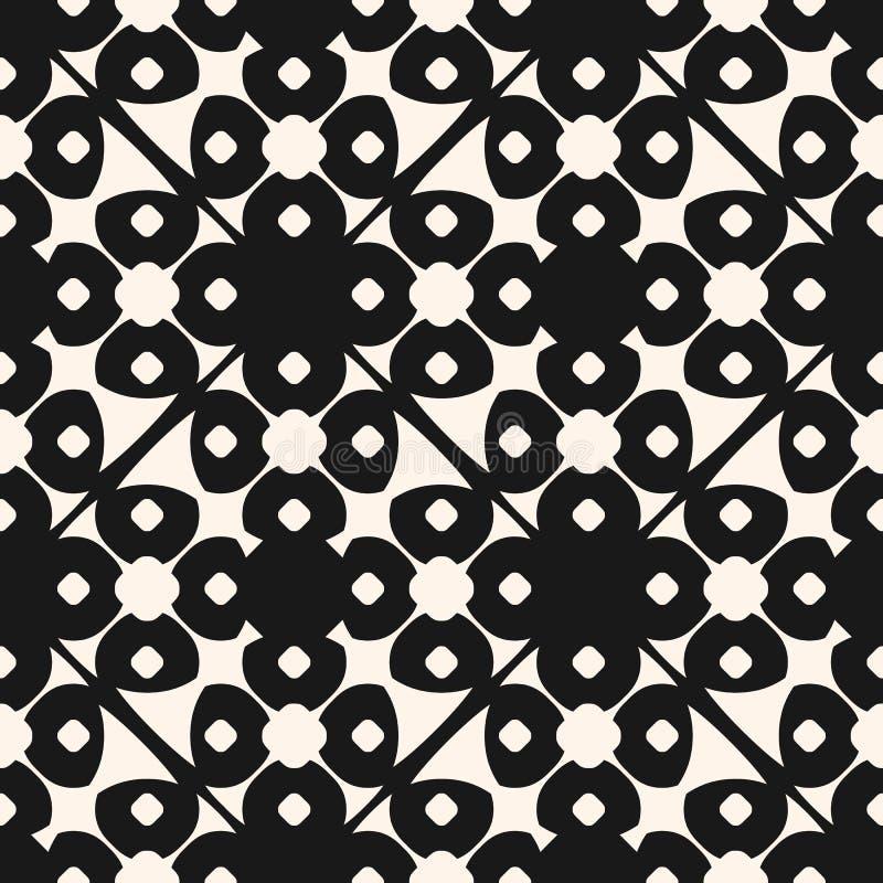 传染媒介几何花卉装饰样式 无缝的黑白纹理 库存例证