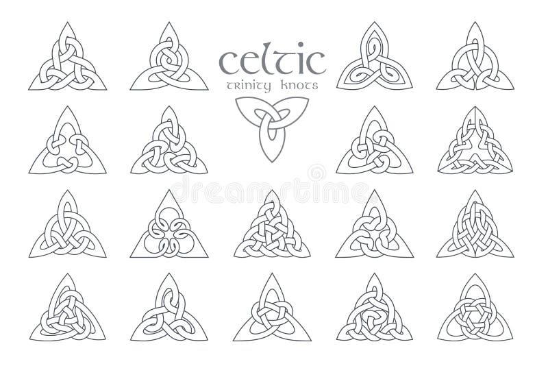 传染媒介凯尔特三位一体结 18个项目 种族装饰品 几何 库存例证