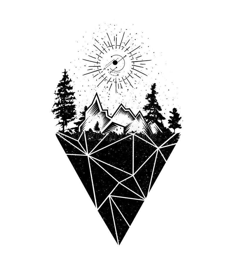 传染媒介创造性的几何lanscape纹身花刺艺术样式设计 向量例证