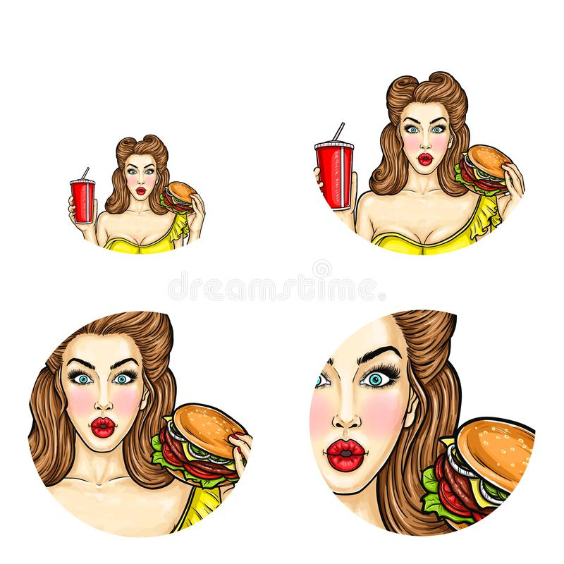 传染媒介别针的流行艺术具体化女孩的拿着汉堡包和可乐 快餐餐馆或肥胖病概念的例证 向量例证
