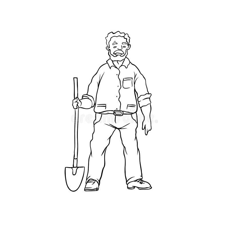 农夫锄地的简笔画_传染媒介剪影上了年纪的人农夫或花匠 有铁锹的人工作