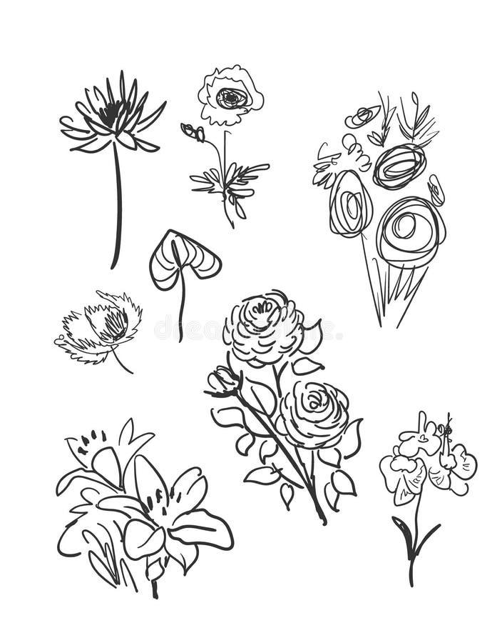 传染媒介剪影例证设计元素植物乱画花 向量例证