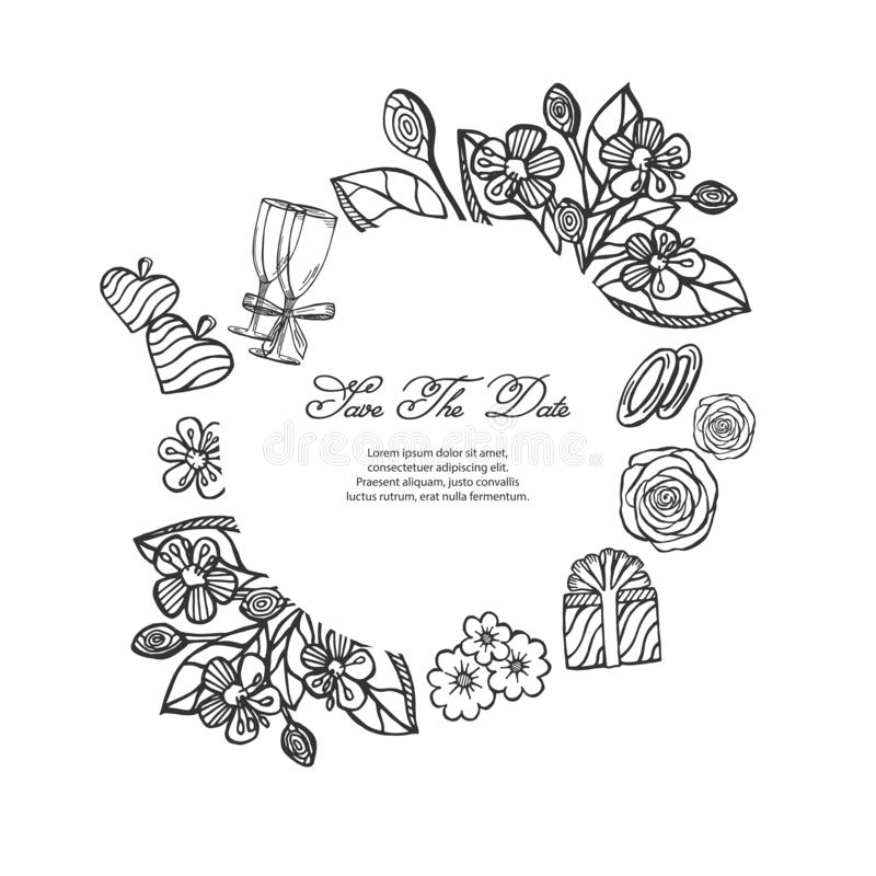 传染媒介剪影例证-与花,圆环,礼物,圆环,玻璃,心脏图画框架的卡片  向量例证