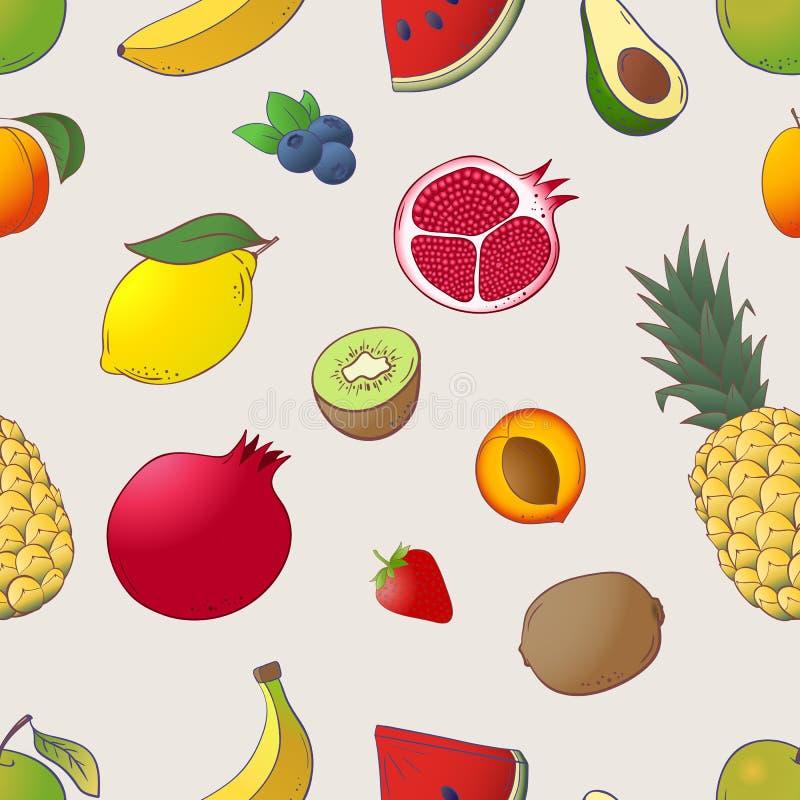 传染媒介剪影手拉的果子和莓果象集合 皇族释放例证
