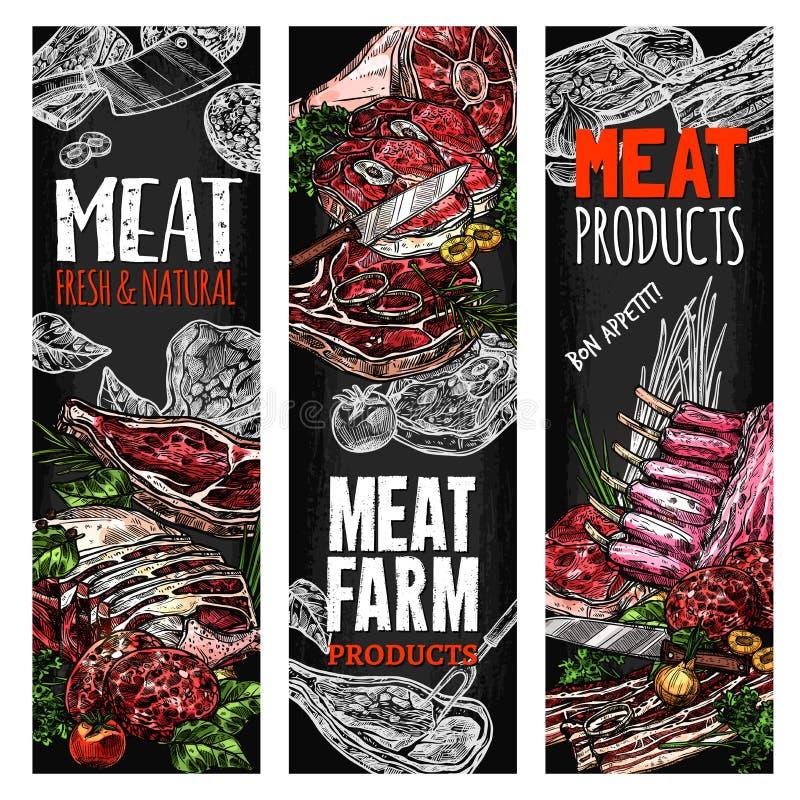 传染媒介剪影肉农厂新鲜的产品横幅 库存例证