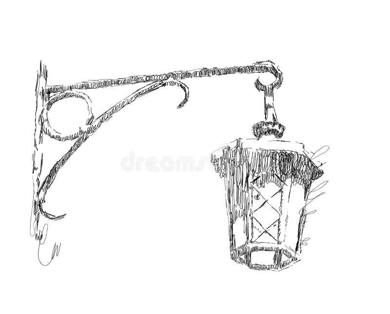 传染媒介剪影街灯,在白色背景,手拉的例证的灯笼 库存例证