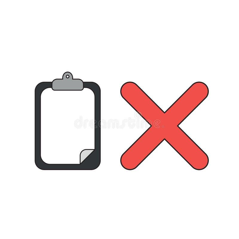 传染媒介剪贴板的象概念有纸和x标记的 向量例证
