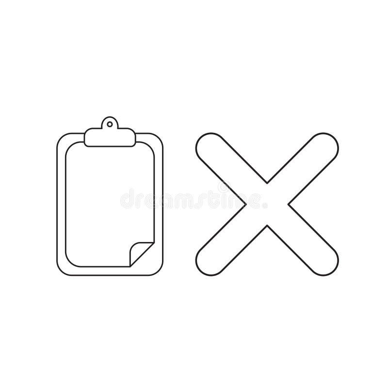 传染媒介剪贴板的象概念有纸和x标记的 皇族释放例证