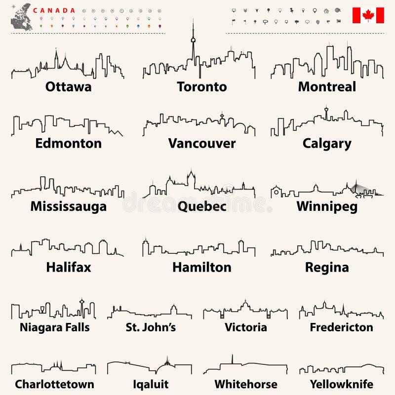 传染媒介加拿大市地平线概述象  向量例证