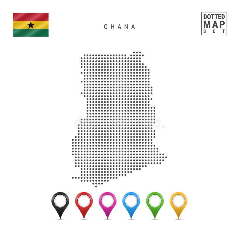 传染媒介加纳的被加点的地图 加纳的简单的剪影 加纳的国旗 套多彩多姿的地图标志 向量例证