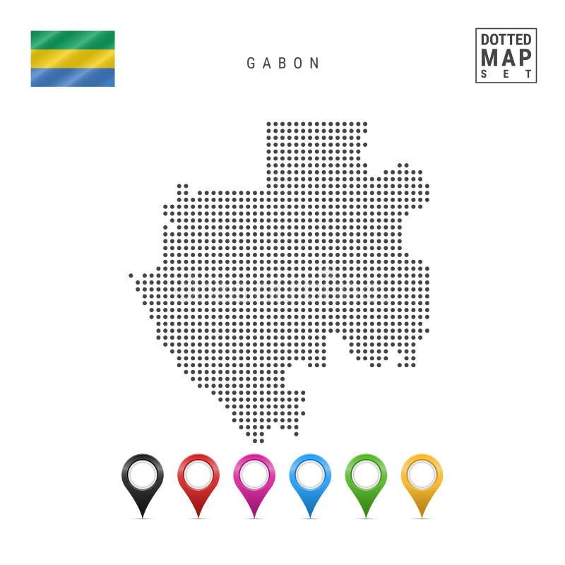 传染媒介加蓬的被加点的地图 加蓬的简单的剪影 加蓬的国旗 套多彩多姿的地图标志 向量例证