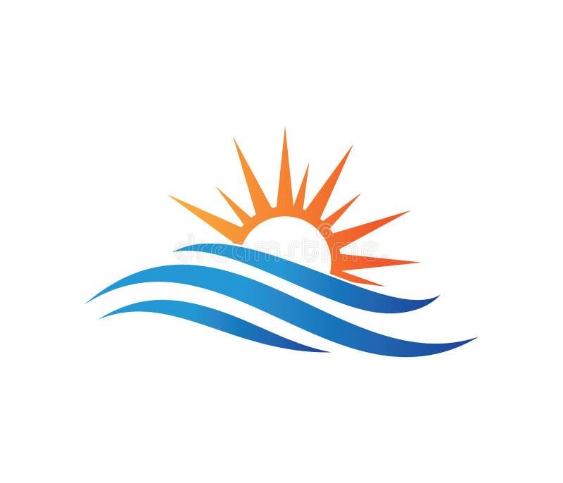 传染媒介动态波浪的,海洋海水波浪家手段,帆船,海洋巡航游览商标设计 向量例证