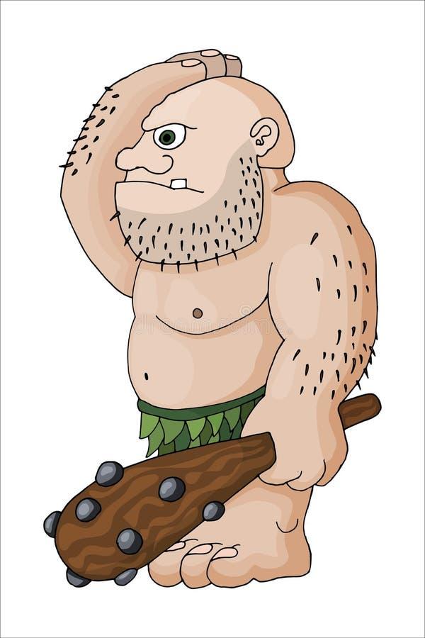 传染媒介动画片一个坚韧卑鄙肌肉残暴的人或巨人的剪贴美术例证 库存例证