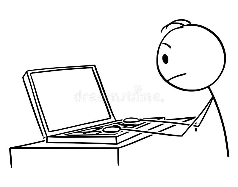 传染媒介动画片人或商人工作或键入在笔记本电脑或膝上型计算机 库存例证
