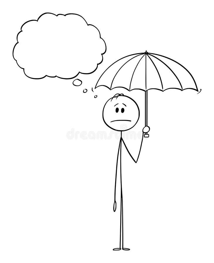 传染媒介动画片人或商人藏品伞和认为某事 库存例证
