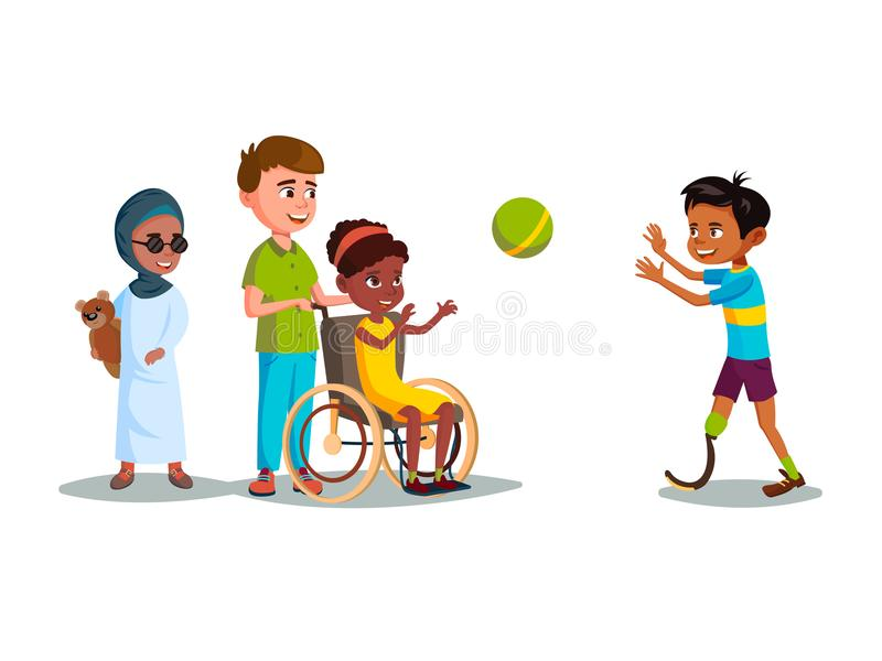 传染媒介动画片使演奏集合的青少年的孩子失去能力 向量例证