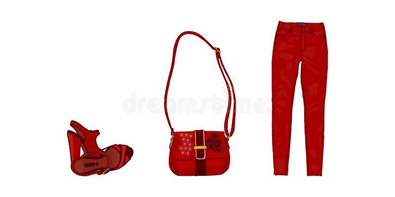 传染媒介动画片例证妇女的凉鞋,夫人的袋子,牛仔裤 向量例证