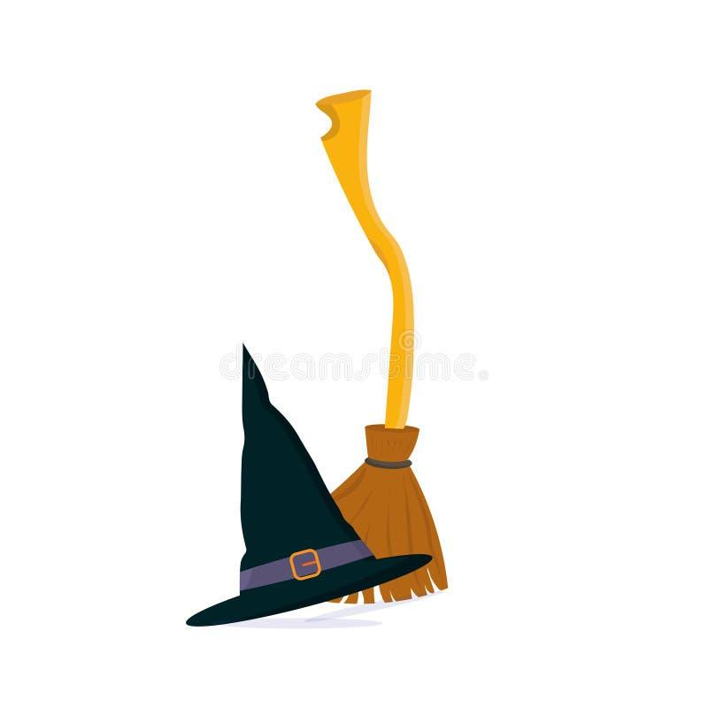 传染媒介动画片例证:长扫帚或巫婆枝杈笤帚和被隔绝的巫术师帽子 库存例证
