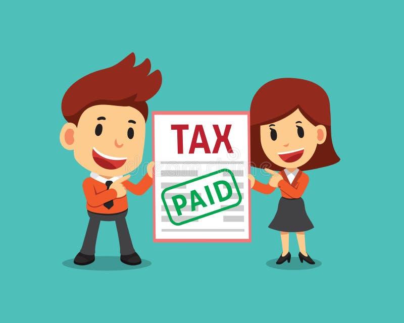 传染媒介动画片商人和女实业家有偿的税 向量例证