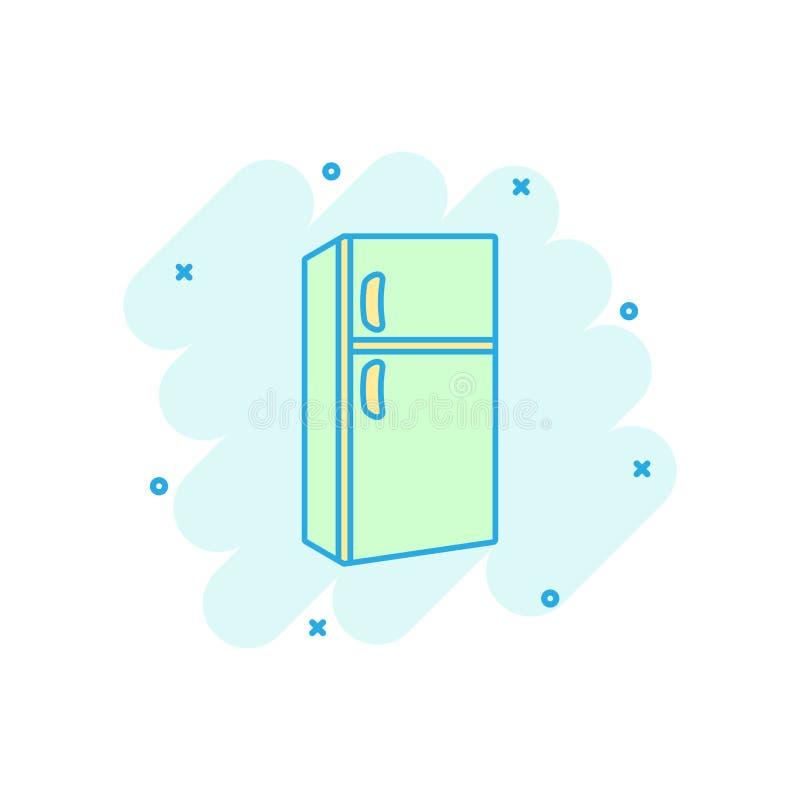 传染媒介动画片在可笑的样式的冰箱象 冰箱illustra 库存例证