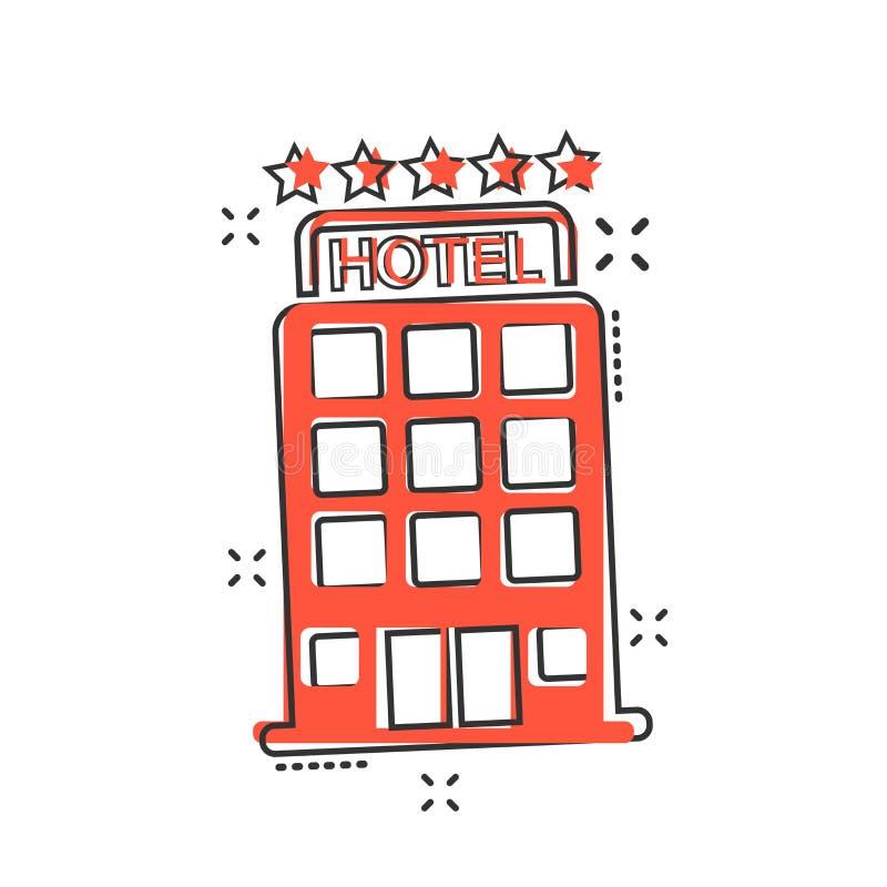传染媒介动画片在可笑的样式的旅馆象 塔标志illustratio 库存例证
