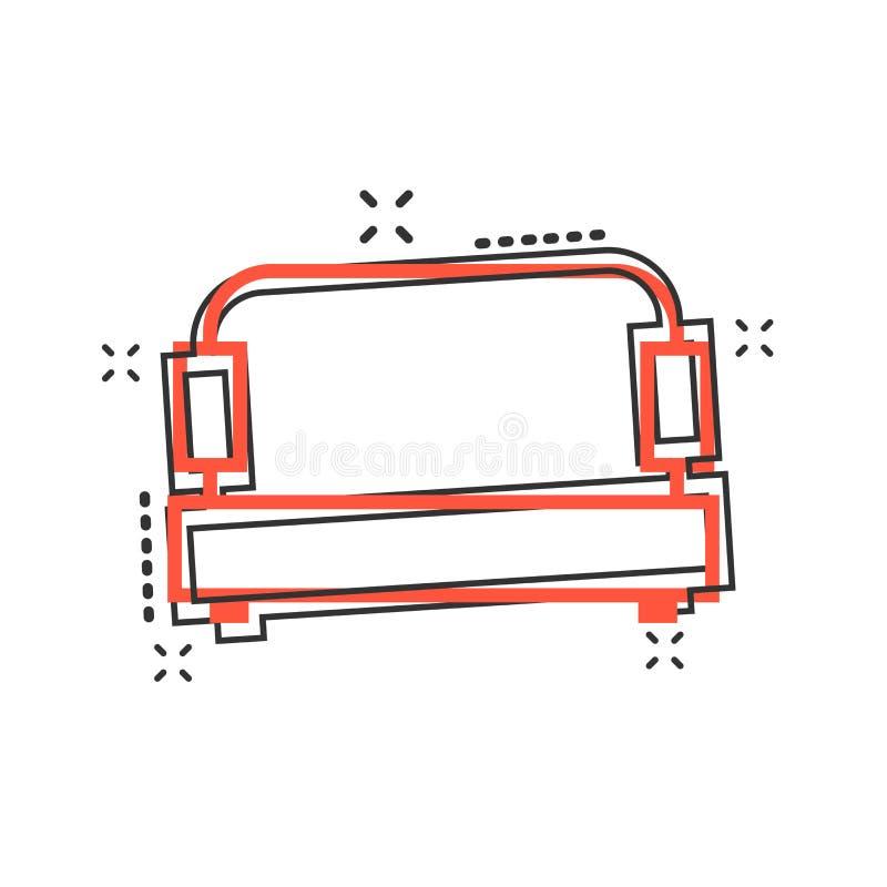 传染媒介动画片在可笑的样式的沙发象 长沙发标志例证 库存例证