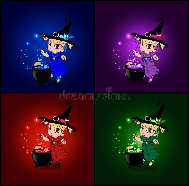 传染媒介动画片套与小小巫婆的万圣夜卡片服装和帽子的 向量例证