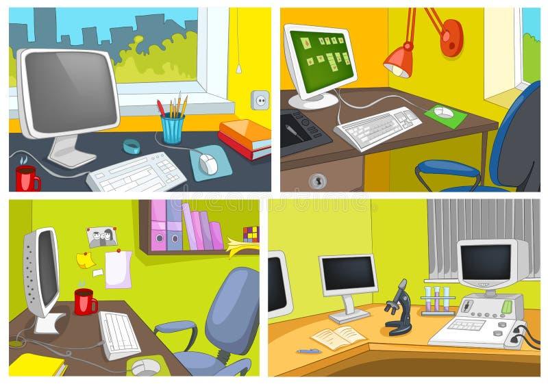 传染媒介动画片套办公室工作场所背景 库存例证
