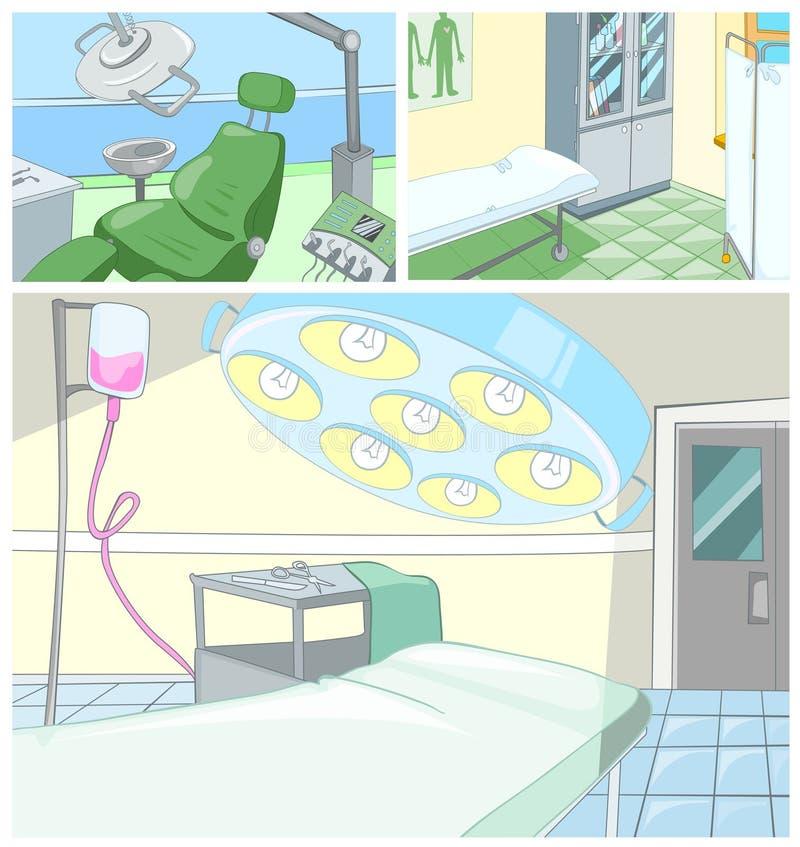 传染媒介动画片套医疗背景 向量例证