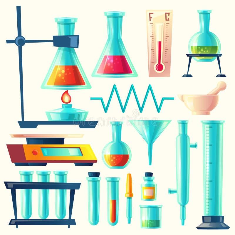 传染媒介动画片实验室设备,玻璃器皿集合 向量例证