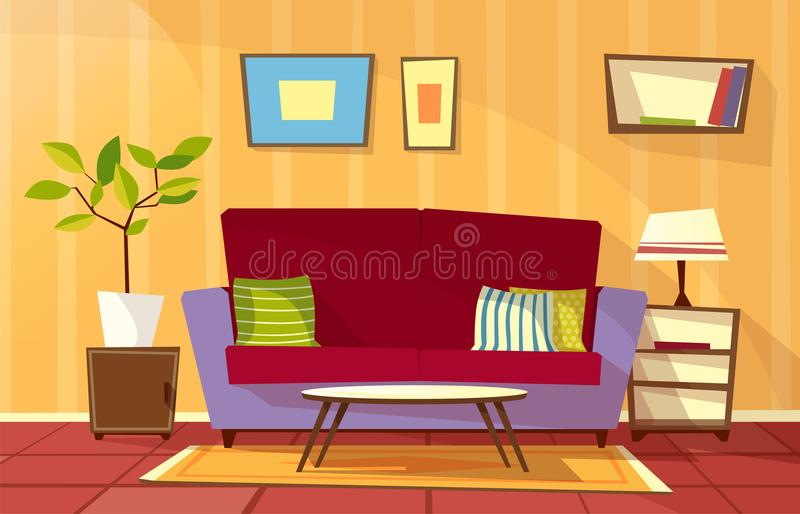 传染媒介动画片客厅公寓内部 向量例证