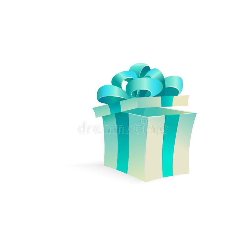 传染媒介动画片开放当前礼物盒丝带弓 向量例证