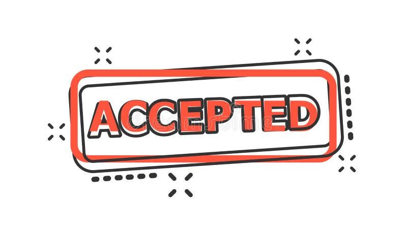 传染媒介动画片接受了封印在可笑的样式的邮票象 的废止 向量例证