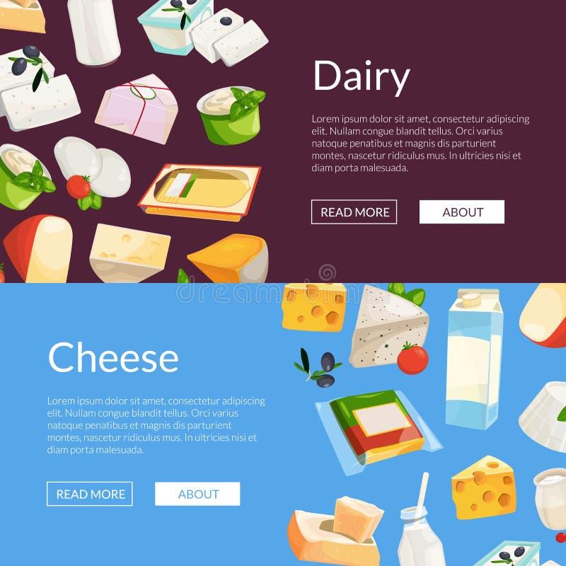 传染媒介动画片牛奶店和乳酪产品网横幅 皇族释放例证