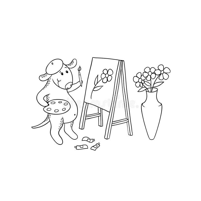 传染媒介动画片狗画家 字符小狗从自然在画架的图画图片得出 黑白色剪影例证 向量例证